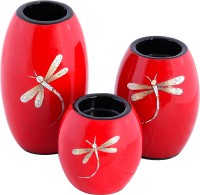 Asian Artisans Wooden 3 - Cup Candle Holder Set(Red, Pack of 3)