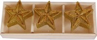 Divsam Shiny Star Decorative Ethical Wax Rushlight Candle(Gold, Pack of 3)
