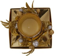 Divsam Artistic Decorative Floral Golden Rushlight Candle(Gold, Pack of 1)