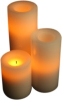Expressme2u Flameless LED Candle(Beige, Pack of 3)