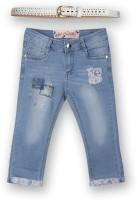 Lilliput Capri For Girls Solid Cotton(Blue)