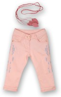 Lilliput Capri For Girls Solid Cotton(Pink)