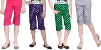 Sini Mini Capri For Girls Polka Print Cotton(Multicolor)