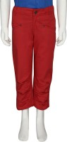 Eves Pret A Porter Capri For Girls Solid Cotton(Red)