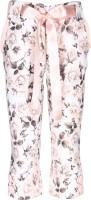 Cutecumber Capri For Girls Floral Print Polyester(Pink)