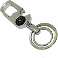 TAG3 Metal Double Hook Magnetic Compass Straight Key Chain(Silver)