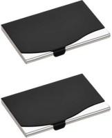 Empreus Stainless Steel Black 10 Card Holder(Set of 2, Black)