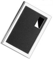 BigBattle24 One Side Leather Steel 6 Card Holder(Set of 1, Silver, Black)
