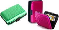 Alexus 6 Card Holder(Set of 2, Green, Pink)