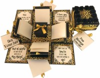 Crack of Dawn Crafts 3 Layered Romantic Explosion Box - Leopard Print Greeting Card(Gold, Black, Pack of 1)