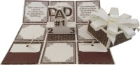 Crack of Dawn Crafts Fathers Day Handmade Explosion Gift Box Greeting Card(WhiteIIBrown, Pack of 1)