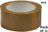 EZPACK Single Sided Packing Tape Packing Tape, Ecommerce Sellers, Brown Tape (NA)(Set of 12, Brown)