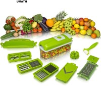 UMATH Chopper(1 x Removable top part with cleaning button 1 x Cutting base 1 x Transparent container 1 x Blade 6x6mm / 12x12mm 1 x Blade 18x18mm / 6x36mm 1 x Blade quarters/wedges 1 x Plug-in cutting stamp 1 x Partial blade cove 1 x Perfect peeler 1 x Fresh-keeping lid)