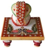 Shreeng Mayur painting choki ganesha Marble All Purpose Chowki(Multicolor, Pack of 1)
