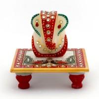 Kaushal Creation Marble Ganesh Marble All Purpose Chowki(White, Red, Pack of 1)