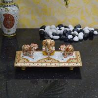 eCraftIndia Elephants Saluting Lord Ganesha Marble All Purpose Chowki(Multicolor, Pack of 1)