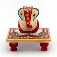 S.B.Enterprises Ganesh Marble All Purpose Chowki(Multicolor, Pack of 1)