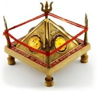 Vedic Vaani Baglamukhi Yantra Brass Pooja Chowki(Multicolor, Pack of 1)