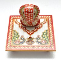 Gaura Art & Crafts Marble All Purpose Chowki(Red, Pack of 1)