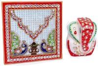 Crafticia Pooja Purpose Ganesha with Chowki Marble All Purpose Chowki(Multicolor)