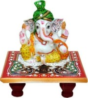 S.B.Enterprises Ganesh Green Pagdi Marble All Purpose Chowki(Multicolor)