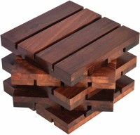 Hashcart Square Wood Coaster Set(Pack of 5)