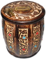 Crafts Paradise Antique Design Round Shape Coin Bank(Brown)