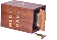 HanumantCreations Designer Wooden Money Coin Bank(Brown)