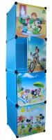 View Bani Kids Plastic 4-Cube Storage Rack Organizer with Doors & Cartoon Patterns PP Collapsible Wardrobe(Finish Color - Blue) Price Online(Bani)
