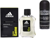 Adidas Live It Combo's In EDT Pure Game & Jovan Men's The Black Musk Deo Combo Set(Set of 2)