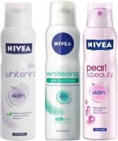 Nivea Whitening Sensitive,Pearl&Beauty,fruity touch Deodorants pack of 3 For Women Combo Set(Set of 3)