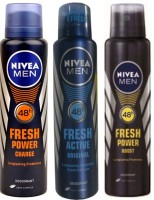 Nivea Fresh Power Boost,Fresh Power Charge,Fresh Active Original (Set Of 3) Deo For Men Combo Set(Set of 3)