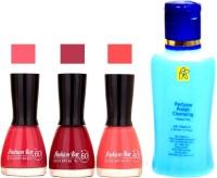 Fashion Bar Stengthening Nail Polish Remover And Pink,Mazanta,Lovley Pink Shades Nail Polish 52421(Set of 4)