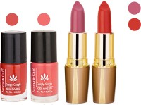 Aroma Care Orange Nail Polish + Purple Lipstick Combo 2907201669(Set of 4)
