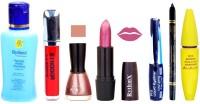 Rythmx Shimmer Pink Lipstick Mazanta Pink Nail Polish Remover Eye Liner Sindoor Pro Non Transfer Black Kajal Maskara Combo Kit 2841(Set of 7)