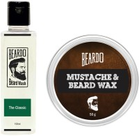 Beardo The Classic Beard Wash (100ml) & Wax (50g) Combo(Set of 2)