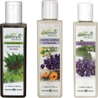 Greenviv Tea Tree & Neem Face Wash (100 ml), Lavender & Tulsi Hair Conditioner (200 ml) With Lavender Calendula & Chamomile Body Lotion (200 ml)(Set of 3)