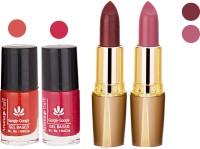 Aroma Care Orange Nail Polish + Brown Lipstick Combo 2907201604(Set of 4)