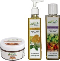 Greenviv Fruity Brown Sugar Face Scrub (50 gm), Minty Citrus Hand Wash (200 ml) With Green Apple & Peach Body Wash (200 ml)(Set of 3)