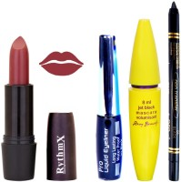 Rythmx Biddent Time Brown Lipstick Bold Look Eyeliner Black kajal Magnum Beauty Maskara Kit 10116(Set of 4)