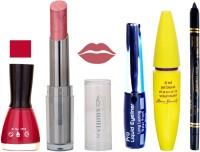 Rythmx Intense Matte Shimmer Light Shade Lipstick, Mauvish Mazanta Nail Polish,Black Eyeliner,Mascara, And Stay On Black Kajal 7310(Set of 5)