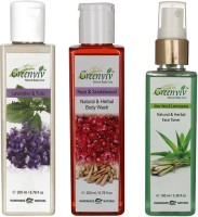Greenviv 1 Lavender & Tulsi Hair Conditioner- 200 ml and 1 Rose & SandalWood Body Wash- 200 ml and 1 Aloe-Vera & LemonGrass Face Toner- 100 ml(Set of 3)