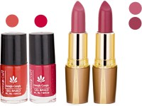 Aroma Care Orange Nail Polish + Purple Lipstick Combo 2907201672(Set of 4)