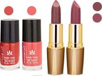 Aroma Care Orange Nail Polish + Brown Lipstick Combo 2907201635(Set of 4)