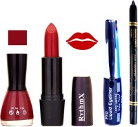 Rythmx Maroon Nail Polish Red Lipstick With Eyeliner and Pro Non Transfer Black Kajal 68096(Set of 4)