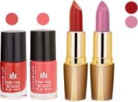 Aroma Care Orange Nail Polish + Maroon Lipstick Combo 29072016107(Set of 4)