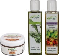 Greenviv 1 Fruity Brown Sugar Face Scrub- 50 gm and 1 Rosemary & Tea Tree Hair Wash- 200 ml and 1 Green Apple & Peach Body Wash- 200 ml(Set of 3)