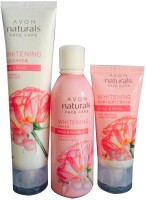 Avon Naturals Rose & Pearl Whitening cleanser, Toner and Powdery Cream(Set of 3)