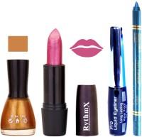 Rythmx Glitter Golden Nail Polish Shimmer Maznata Lipstick With Eyeliner and Pro Non Transfer Blue Kajal 580133(Set of 4)