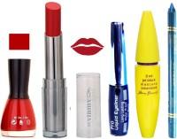 Rythmx Intense Matte Reviving red Shade Lipstick, Red Nail Polish,Black Eyeliner,Mascara, And Turquoise Blue Kajal 600(Set of 5)
